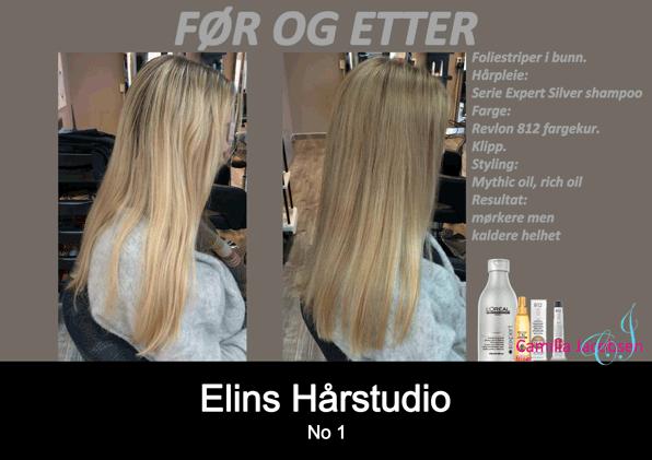 Før etter foliestriper hårfarge kur frisør Sandefjord Camilla