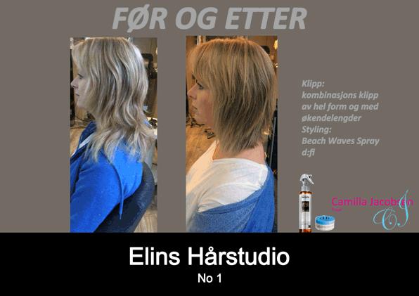 Før etter klipp og styling frisør Sandefjord Camilla