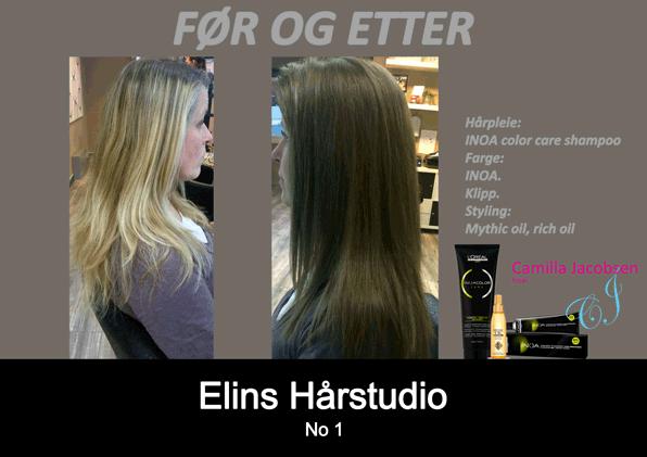 Før og etter lys til mørkt langt hår – frisør Sandefjord Camilla