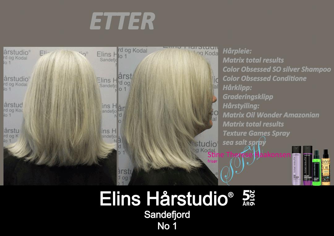 Dameklipp naturlig grå hårfarge gradering klipp