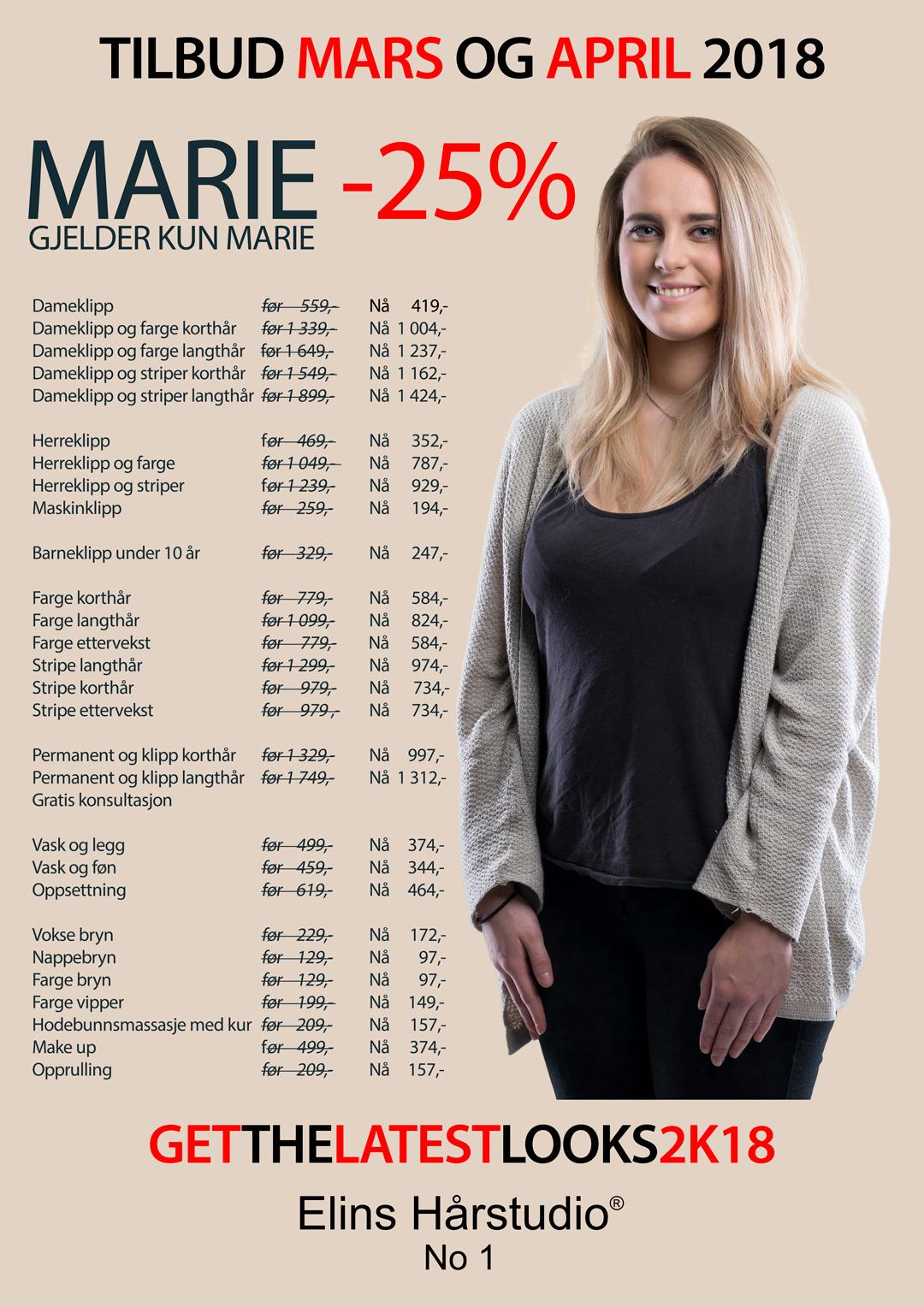 MARIE -25% – TILBUD JANUAR OG FEBRUAR 2018