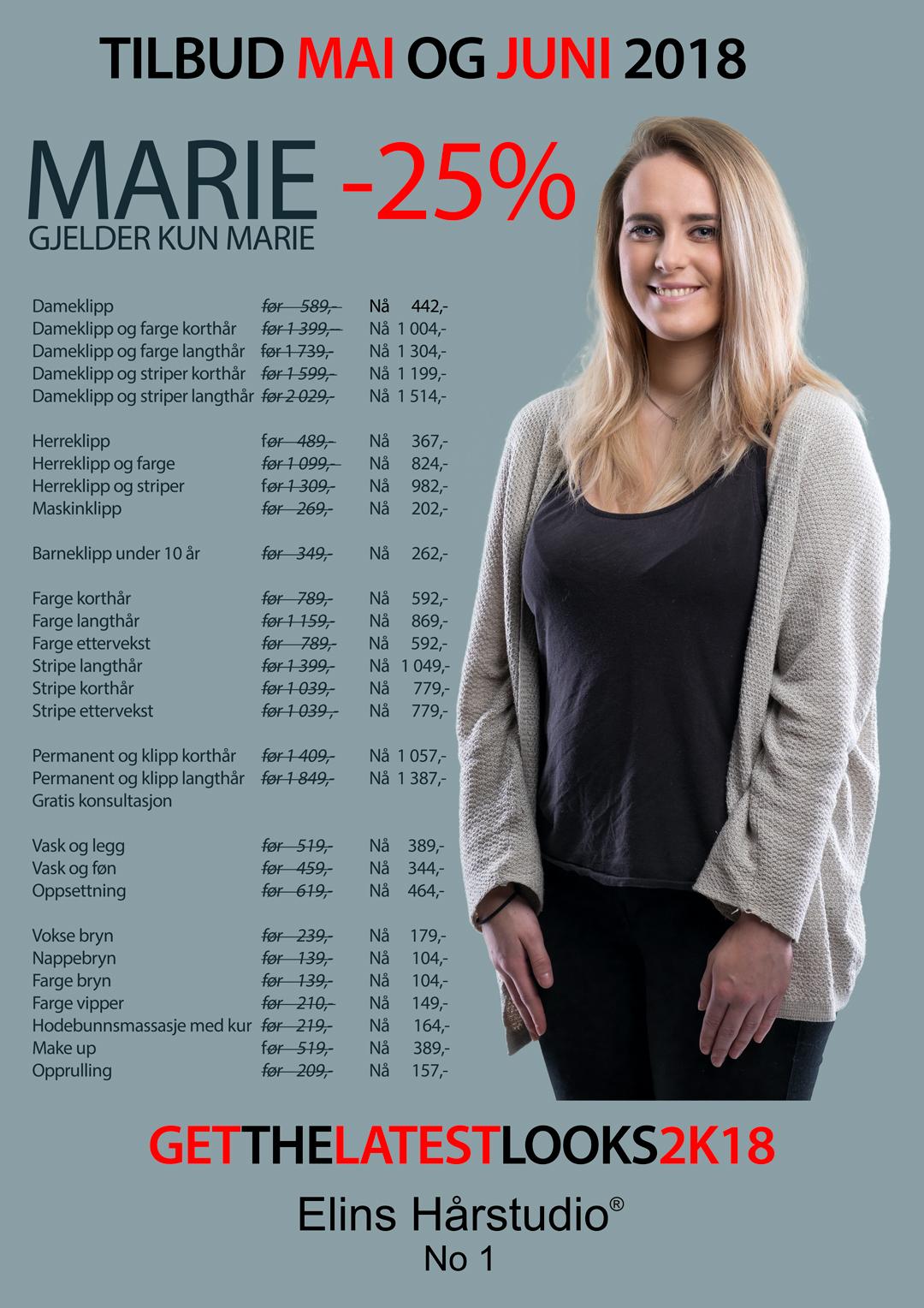 MARIE -25% – TILBUD MAI OG JUNI 2018