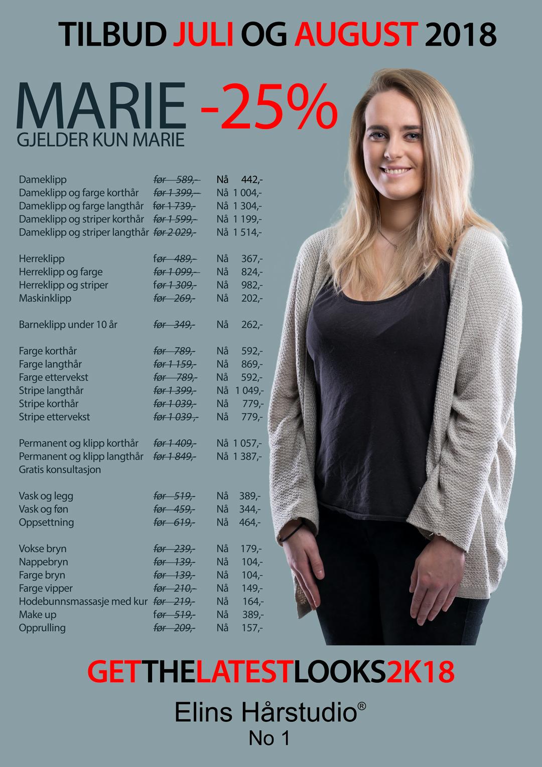 MARIE -25% – TILBUD JULI OG AUGUST 2018