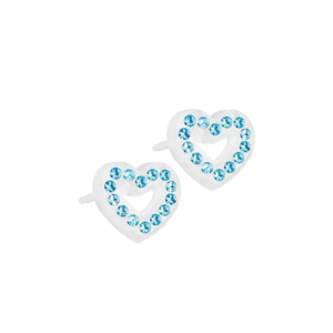 Blomdahl earring medical plastic brilliance heart hollow aquamarine 10 mm
