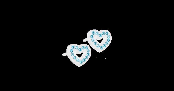 Blomdahl earring medical plastic brilliance heart hollow aquamarine 10 mm