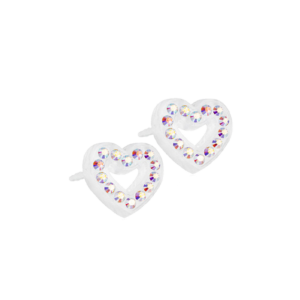 Blomdahl earring medical plastic brilliance heart hollow rainbow 10 mm