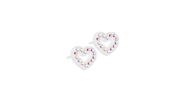 Blomdahl earring medical plastic brilliance heart hollow rainbow 10 mm