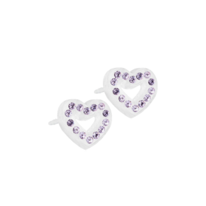 Blomdahl earring medical plastic brilliance heart hollow violet 10 mm