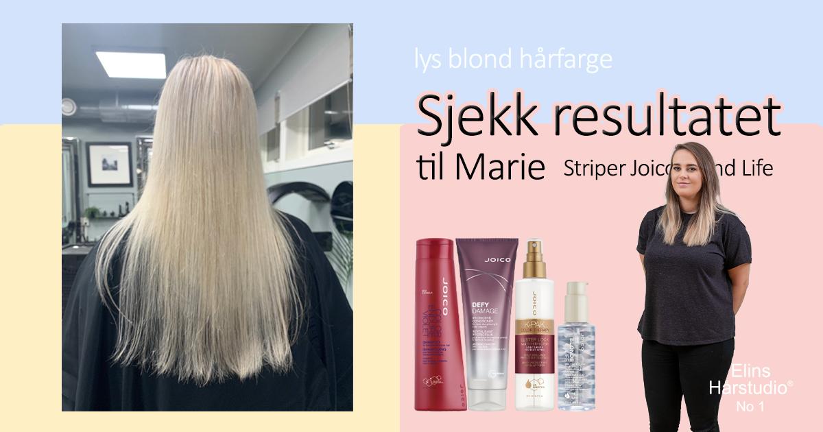 Lys blond hårfarge striper med joico blond life